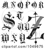 Royalty Free RF Clip Art Illustration Of A Digital Collage Of Black And White Calligraphy Abc Letters M Through Z