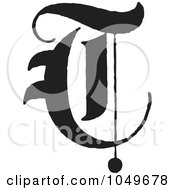 Royalty Free RF Clip Art Illustration Of A Black And White Calligraphy Abc Letter T