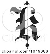 Royalty Free RF Clip Art Illustration Of A Black And White Calligraphy Abc Letter K