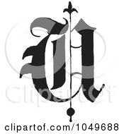 Black And White Calligraphy Abc Letter U