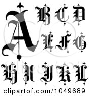 Royalty Free RF Clip Art Illustration Of A Digital Collage Of Black And White Calligraphy Abc Letters A Through L
