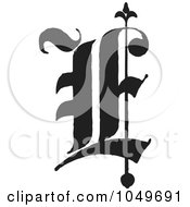 Black And White Old English Abc Letter E by BestVector