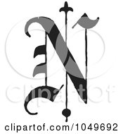 Black And White Old English Abc Letter N by BestVector