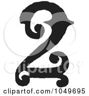 Royalty Free RF Clip Art Illustration Of A Black And White Vintage Digit Number 2 by BestVector