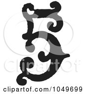 Royalty Free RF Clip Art Illustration Of A Black And White Vintage Digit Number 5