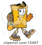 Yellow Admission Ticket Mascot Cartoon Character Hiking And Carrying A Backpack