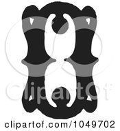 Royalty Free RF Clip Art Illustration Of A Black And White Vintage Digit Number 0