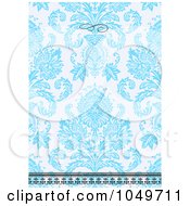 Royalty Free RF Clip Art Illustration Of A Blue Floral Pattern Invitation Design Background 5 by BestVector