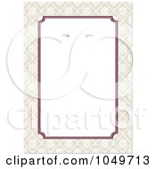 Royalty Free RF Clip Art Illustration Of A Burgandy And Beige Floral Border Around White Copyspace 1