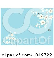 Royalty Free RF Clip Art Illustration Of A Spring Blossom Branches Over A Blue Background