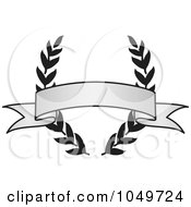 Royalty Free RF Clip Art Illustration Of A Vintage Grayscale Award Crest And Blank Banner 5