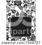 Royalty Free RF Clip Art Illustration Of A Black And White Floral Design Invitation With Black Copyspace