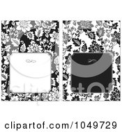 Royalty Free RF Clip Art Illustration Of A Digital Collage Of Black And White Floral Design Invitations