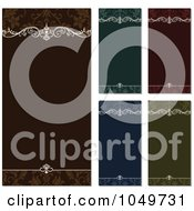 Royalty Free RF Clip Art Illustration Of A Digital Collage Of Vertical Green Brown Red And Blue Floral Invitation Backgrounds With Shading