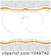 Royalty Free RF Clip Art Illustration Of A Gold And Gray Floral Pattern Invitation Background