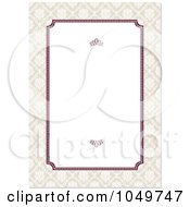 Royalty Free RF Clip Art Illustration Of A Burgandy And Beige Floral Border Around White Copyspace 2