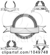 Royalty Free RF Clip Art Illustration Of A Digital Collage Of Vintage Grayscale Award Crests With Blank Banners