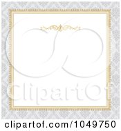 Royalty Free RF Clip Art Illustration Of A Golden Frame And Gray Damask Around White Copyspace