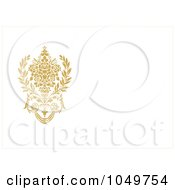 Royalty Free RF Clip Art Illustration Of An Off White Invitation With A Golden Floral Design And Copyspace