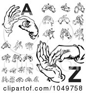 Royalty Free RF Clip Art Illustration Of A Digital Collage Of Retro Black And White Alphabet Sign Language Hands A Through Z