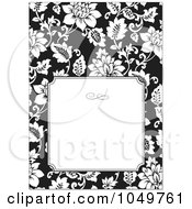 Royalty Free RF Clip Art Illustration Of A Black And White Floral Design Invitation With White Copyspace by BestVector