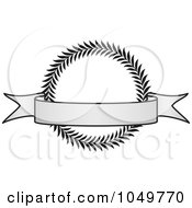 Royalty Free RF Clip Art Illustration Of A Vintage Grayscale Award Crest And Blank Banner 3