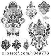 Royalty Free RF Clip Art Illustration Of A Digital Collage Of Black Vintage Elegant Damask Design Elements