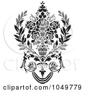 Royalty Free RF Clip Art Illustration Of A Black Vintage Elegant Damask Design Element 8