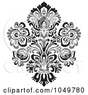 Royalty Free RF Clip Art Illustration Of A Black Vintage Elegant Damask Design Element 3