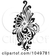 Royalty Free RF Clip Art Illustration Of A Black Vintage Elegant Damask Design Element 7