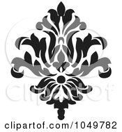 Royalty Free RF Clip Art Illustration Of A Black Vintage Elegant Damask Design Element 6