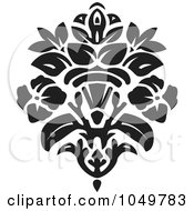 Royalty Free RF Clip Art Illustration Of A Black Vintage Elegant Damask Design Element 5
