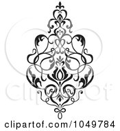 Royalty Free RF Clip Art Illustration Of A Black Vintage Elegant Damask Design Element 2