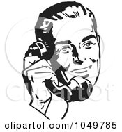 Royalty Free RF Clip Art Illustration Of A Retro Black And White Businessman Using A Phone 2