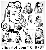 Royalty Free RF Clip Art Illustration Of A Digital Collage Of Retro Black And White Men And Women Using Phones by BestVector