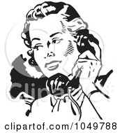 Royalty Free RF Clip Art Illustration Of A Black And White Retro Lady Talking On A Phone 2