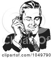 Royalty Free RF Clip Art Illustration Of A Retro Black And White Businessman Using A Phone 1