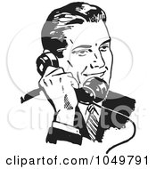 Royalty Free RF Clip Art Illustration Of A Retro Black And White Businessman Using A Phone 3