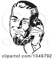 Royalty Free RF Clip Art Illustration Of A Retro Black And White Businessman Using A Phone 4