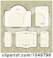 Royalty Free RF Clip Art Illustration Of A Digital Collage Of Beige Labels Over Tan Damask