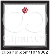 Royalty Free RF Clip Art Illustration Of A Black And Gray Square Frame With A Red Floral Design Around White Copyspace 1