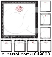 Royalty Free RF Clip Art Illustration Of A Digital Collage Of Black And Gray Square Frames With Red Swirl Designs Around White Copyspace