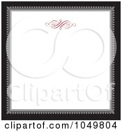 Royalty Free RF Clip Art Illustration Of A Black And Gray Square Frame With A Red Swirl Design Around White Copyspace 2