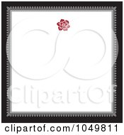Royalty Free RF Clip Art Illustration Of A Black And Gray Square Frame With A Red Floral Design Around White Copyspace 2