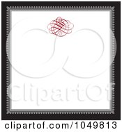 Royalty Free RF Clip Art Illustration Of A Black And Gray Square Frame With A Red Swirl Design Around White Copyspace 1