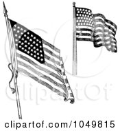 Royalty Free RF Clip Art Illustration Of A Digital Collage Of Black And White Retro American Flags Waving by BestVector