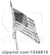 Royalty Free RF Clip Art Illustration Of A Black And White Retro American Flag Waving 1 by BestVector