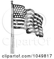 Black And White Retro American Flag Waving - 2