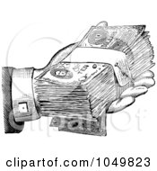 Royalty Free RF Clip Art Illustration Of A Black And White Retro Hand Giving Cash by BestVector