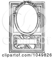 Royalty Free RF Clip Art Illustration Of A Vintage Black And White Sketched Frame With Leaves
